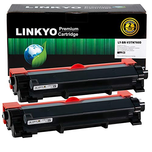 LINKYO Compatible Toner Cartridge Replacement for Brother TN760 TN730 (2-Pack, High Yield, Design V3) Iowa