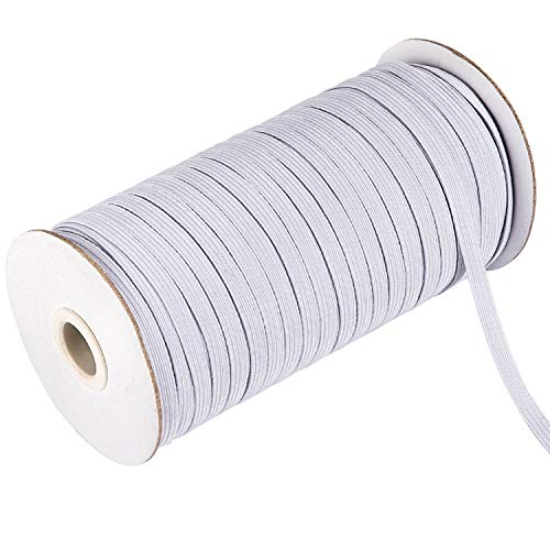 Whaline 98 Yards Flat Braided Elastic Band 1/4 Inch White Stretch String Elastic Cord Elastic Rope Stretch Knit Elastic Sewing Spool for DIY Crafting, Necklines, Cuff, Clothing, Bedding (6mm)