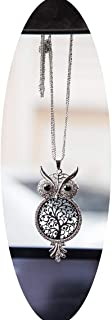 Boltz Tree of Life Owl Car Charm Rear View Mirror Accessories,Car Mirror Hanging Ornaments Decoration,Key Charm (Key Golden Color) (owl Family Tree Grey Color) (owl Family Tree Grey Color)