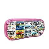 IUBBKI USA Nummernschild School Print Pouch Kosmetiktasche mit Reißverschluss