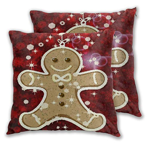 Aieefun Soft Square Throw Pillow Covers Set of 2 Snow Snowflakes Cute Gingerbread Man Decorative Cushion Case for Sofa Bedroom Car Couch 18X18 Inch