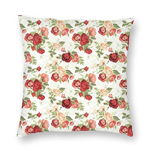 Decorative Cushion Covers with Roses Bouquet Romance Holiday Love Anniversary Ornament Print,for Sofa Office Decor Cotton and Linen Cushion Covers 16*16Inch