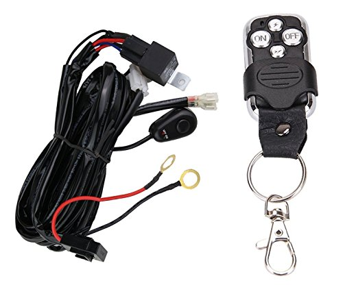 Glaretek Wiring Harness for LED Light Bar with Remote Control 12V 40A One Line Kit ON/Off Switch Relay for Fog Light Off-Road Work 10FT Length (Remote Control), 12 Months Full Warranty