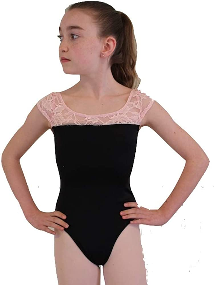 Leotard - Princess Style Black with Pink Lace Trim - Girls Large