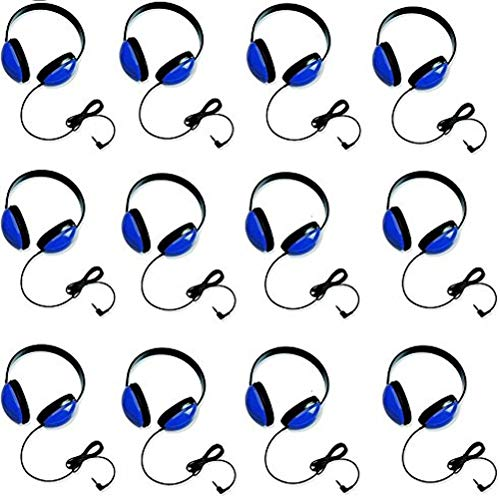 Califone 2800-BL Listening First Stereo Headphones for Kids Bundle (Blue) (12 Items)