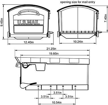 Gibraltar Mailboxes Patriot Large Capacity Rust-Proof Plastic Black, Post-Mount Mailbox, GMB515B01