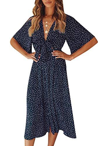 Yidarton Sommerkleid Damen V-Ausschnitt Polka Dot Midikleid Knielänge Vintage Boho Kurzarm Strandkleider (Marine, XL)