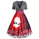 Women Vintage Christmas Dress Printed Short Sleeve Bow Knot A-Line Swing Dress Suit Gray