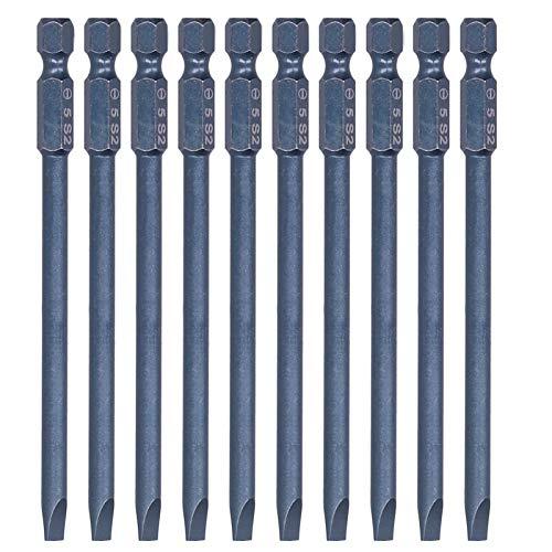Juego de 10 puntas de destornillador, puntas de destornillador ranuradas, broca de aleación de acero de torsión grande resistente a los impactos para taladros eléctricos manuales