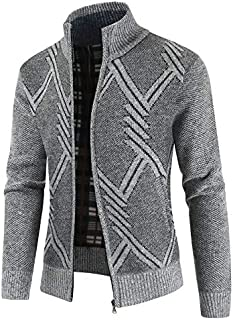 OEAK Mens Knitted Cardigans with Zipper Long Sleeve Casual Hoodie Sweatshirt Jumper Coat Warm Spring Autumn Patchwork Hood...