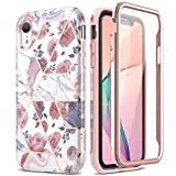 SURITCH Case for iPhone XR, [Built-in Screen Protector] Rose Gold Marble Full-Body Protection