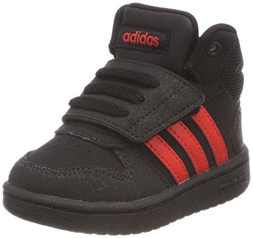 Adidas Hoops Mid 2.0 I, Zapatillas de Estar por casa Niños Bebé Unisex, Negro (Negbas/Rojbas/Negbas 000), 18 EU