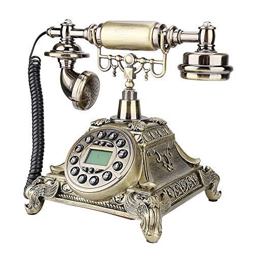 PUSOKEI Teléfono de Estilo Europeo, teléfono Antiguo de línea Fija Vintage, Llamada Manos Libres, para decoración de Escritorio de Oficina en casa, Soporte para identificador de Llamadas FSK y DTMF