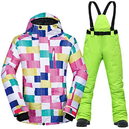 Jackenstr Set di Tute da Sci e Snowboard per Giacca da Donna Antivento e Impermeabile CK Green XL