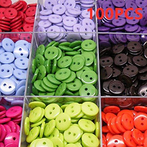Paquete de 100 botones de plástico para costura de 2 agujeros, forma redonda, para niños, herramientas de ropa de 9/11/15/20 mm, accesorios de ropa, color al azar, 20 mm