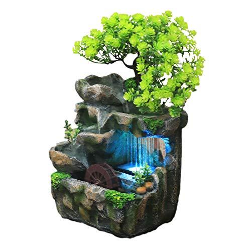 A-A TischBrunnen Zimmerbrunnen, Polyresin Springbrunnen Mit LED Beleuchtung, Wasserfall Desktop Brunnen Mit Steingarten Dekor,20 X 15 X 26 cm