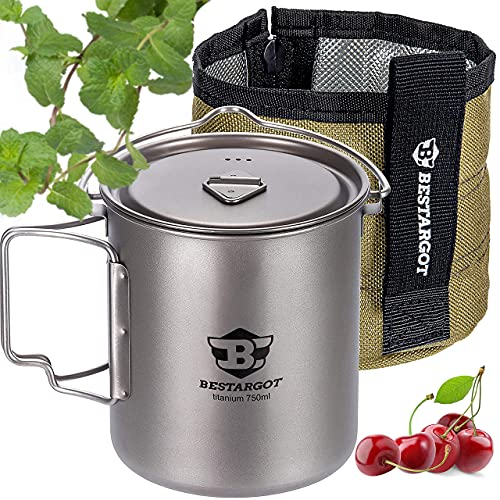 Bestargot Camping Titanium Pot, 750ml Outdoor Cup with Insulation Cup Carrier, Titanium Camping Drinkware, 132g Lightweight and Large Capacity