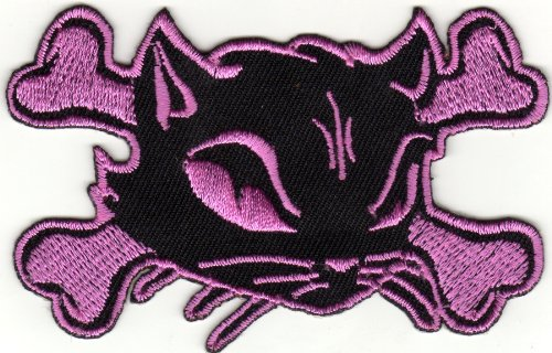 Aufnäher Bügelbild Applikation Iron on Patches Katze Pirat pink