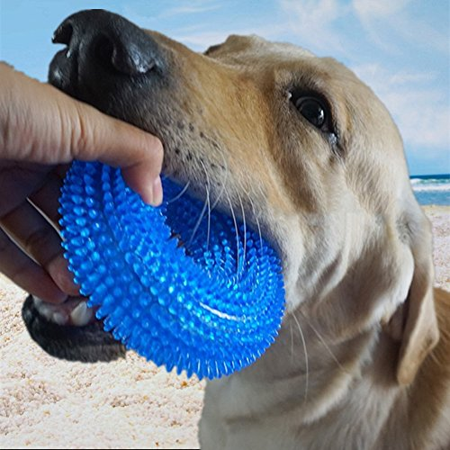 Comtim Durable Dog Chew Toys Dog Chew Toys with Squeaker for Aggressive Chewers,Nearly Indestructible 100% Natural Rubber Dog Toys for Small,Medium and Large Dogs,Blue