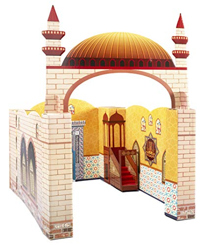 My Portable Cardboard Playhouse Masjid for Muslim Kids-Educational Interactive Toy for Learning Islam,Praying,Quran Book and Pray-Teach Salah with Prayer Rug/Mat/Carpet-Best Islamic Gift for Children