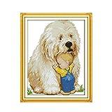 Perro y niño de punto de cruz 14ct kit 11ct pre estampado DIY mano bordado set arte hecho a mano de costura-11CT Printed