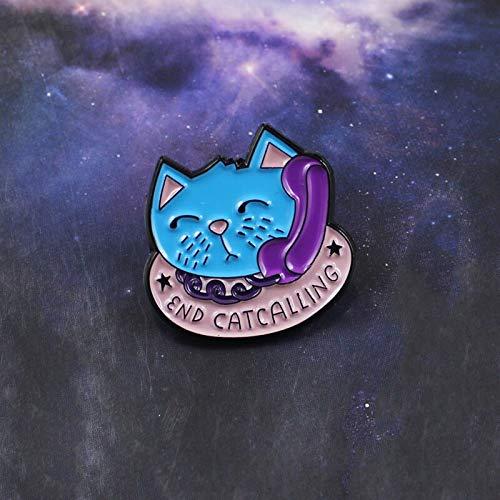 QISKAII Final DE Llamada Broche de Gato Azul Teléfono Gatito Amigos Pin de Esmalte Camiseta Suéter Insignia de Animales Amantes de Mascotas Niño Familia Regalos Punk
