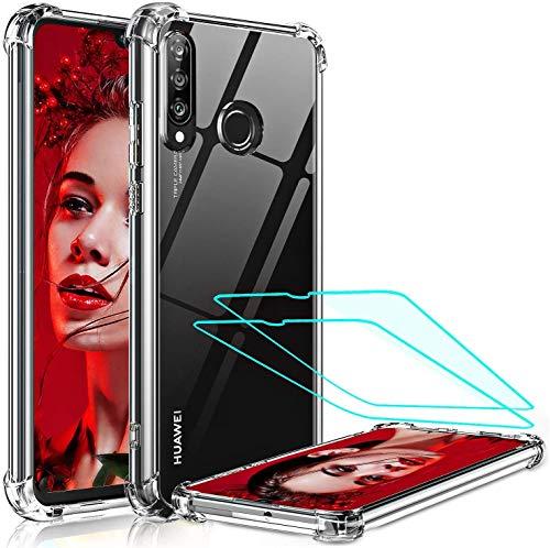 LeYi Coque pour Huawei P30 Lite/P30 Lite XL New Edition avec 2 Verre Trempé, [ Renforcer la Version] Etui de Protection Antichoc Coussin d'Air Bumper Housse PC Dur + Cadre en TPU Souple