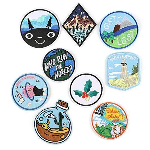 N/A. 9 piezas/paquete de dibujos animados de patrón mixto redondo geométrico planeta de montaña bordado parches apliques, coser/planchar en la ropa camiseta jeans chaqueta decoraciones