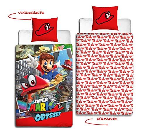 Nintendo adolescente de cama de franela en · cama infantil para niñas y niños · Super Mario Odyssey Reversible Diseño · almohada 80x 80+ Funda Nórdica 135x 200cm–100% algodón