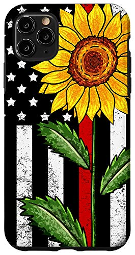 iPhone 11 Pro Max Sunflower Red Line US Flag Firefighter Fireman Wife Gift Case