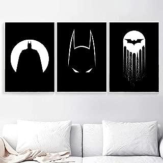 LZHNB Black White Superhero Batman Moon Wall Art Canvas Painting Nordic Posters and Prints Cartoon Wall Picture for Kids Room Decor-50x70cmx3 pcs no Frame