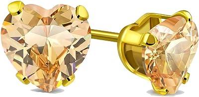 Tata Gisèle - Pendientes de acero inoxidable dorado y cristal en corazón