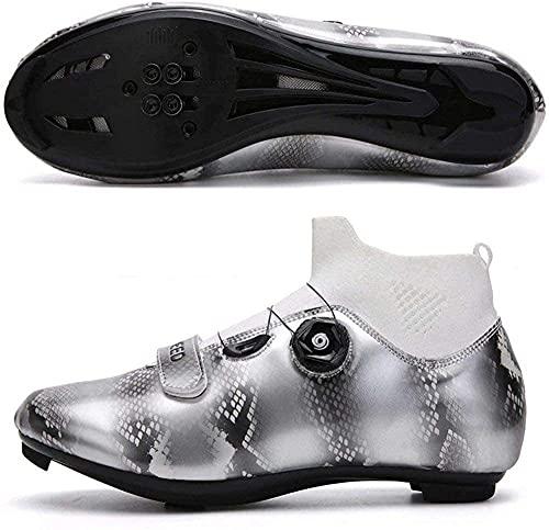 KUXUAN Zapatillas de Ciclismo de Carretera Compatibles con Tacos Transpirables con Tacos SPD Bicicletas de Carrera con Tacos,Grey-37EU=(235mm)