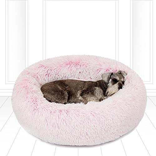 Friends Forever Coco Cat Bed, Faux Fur Dog Beds for Medium Small Dogs - Self Warming Indoor Round Pillow Cuddler, Medium, Pink