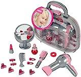 Theo Klein 5855 Maletín de peluquería con secador, Con espejo, peine y accesorios, Maletín robusto con secador a pilas, Medidas 27.5 cm x 11 cm x 22.2 cm, Juguete para niños a partir de 3 años