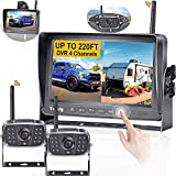 Wireless Backup Camera for RV HD 1080P 2 Wireless Rear View Cameras HighWay Observation System 7 Inch DVR Monitor Touch Key for RVs,Trailers,5th Wheels with Adapter for Furrion Pre-Wired RVs Yakry Y28