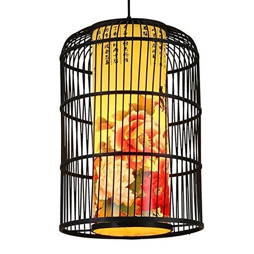 Bamboe vogelkooi kroonluchter nieuwe Chinese clubhuis restaurant kroonluchter restaurant decoratie lantaarn kroonluchter enkele kop E27 50-80 cm hangende lijn 120 cm instelbaar (grootte: 35 * 50 cm)