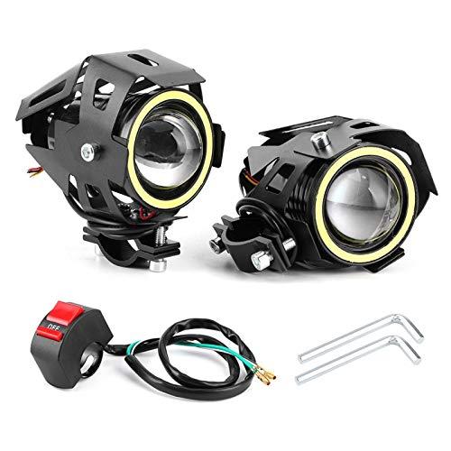 Motorradscheinwerfer Cree U7 LED Nebelscheinwerfer Scheinwerfer Tagfahrlicht mit weißen Angel Eyes Halo Ring Hi/Lo Beam mit Schalter für ATV UTV Trucks