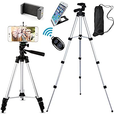 FoAnt Aluminum Professional Lightweight Camera Tripod for iPhone, Cellphone,Gopro Hero,Digital SLR DSLR Video Cameras with Cellphone Holder Clip and Remote Shutter