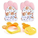 2 Stück Baby Zahnen Handschuh, Silikon Beißringhandschuh Fäustling Teething Glove Soothing selbstberuhigende Schmerzlinderung Spielzeug Bringen Sie 2 Stk Baby-Silikonspielzeug mit