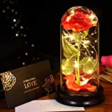 Glass Rose, 【2021 Newest】 ETEREAUTY Beauty and The Beast Rose in Glass with Colorful Led Lights, Galaxy Rose Flower for Women, Christmas, Birthday, Mother's Day, Valentine's Day(Red Rose)