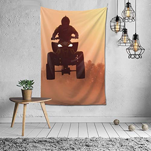 N / A Tapestry Silhouette ATV Or Quad Bikes Jump in The Sunset Wall Decor Mandala Beach Bedspread Intricate Indian Bedspread Tapestries