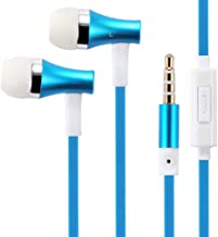 Premium Sound Blue Earbuds Handsfree Earphones Mic Dual Metal Headphones Headset in-Ear Wired [3.5mm] Compatible with LG Q7 Plus Q6, Premier LTE, Lancet, K8 V K7 K30 K20 V Plus, K10, G4 W7A