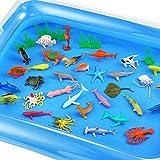 Auihiay - Juego de 41 Piezas de Animales oceánicos y Marinos, Juguetes sensoriales Que Incluyen Animales oceánicos y Alfombrilla de Agua Inflable para educación Infantil
