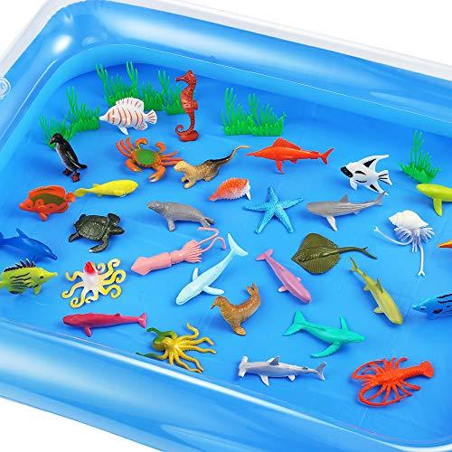 Auihiay 41 Stück Ocean Sea Animals Set Sensorische Spielzeuge gehören Ocean Animals und aufblasbare Wassermatte für Kinder Bildung Familienzeit