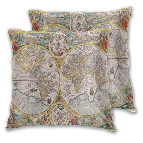 MUYIXUAN Juego de 2 Decorativo Funda de Cojín,Mapa Atlas Geografía Dibujo Antiguo,Funda de Almohada Cuadrado para Sofá Cama