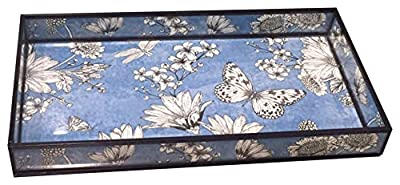 nu steel Decorative Glass Blue Printed Floral Tray, Hand Storage, Towel Rack, Sturdy Holder for Disposable Paper Napkins-Bathroom Vanity Countertop