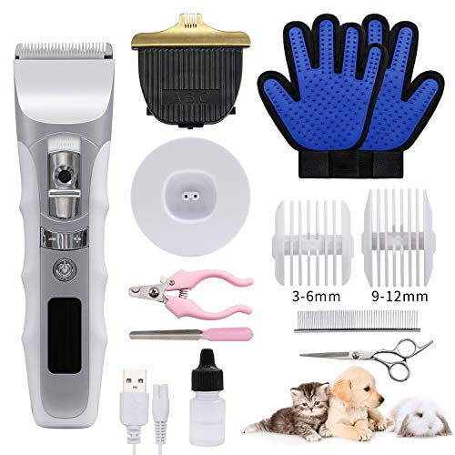 JAKEMY Dog Clippers Low Noise Pet Clippers Rechargeable Dog Trimmer Cordless Pet Grooming Tool Comb Guides Scissors Nail Kits for Dogs Cats & Others