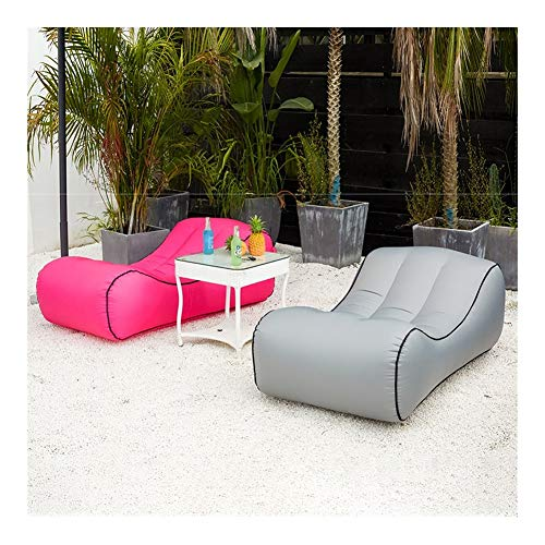 Inflables sofá reclinable Puffs jardín Aire Exterior Sofá Cama reclinable (Color : Light Blue)