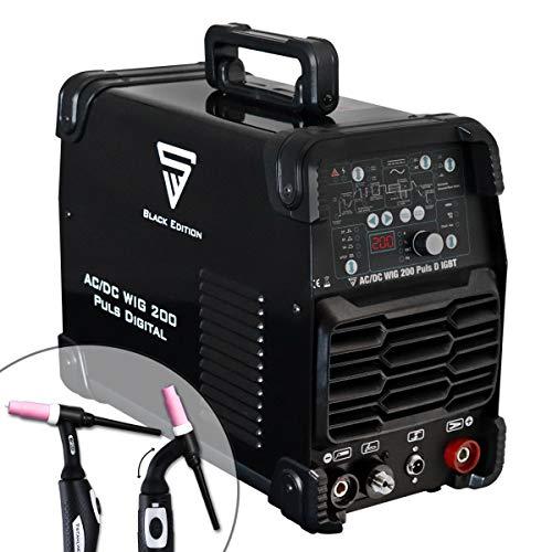 STAHLWERK AC/DC WIG 200 Puls D IGBT Schwarz, digitales Schweißgerät mit 200 Ampere WIG & MMA, Job-Speicher, ALU & Dünnblech geeignet, 7 Jahre Garantie